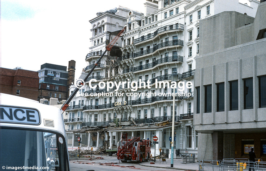 Grand Hotel, Brighton, UK, seriously damaged after a Provisional IRA bomb on 12th October 1984. At the time the hotel had as guests Conservative Party VIPs, including the Prime Minister Margaret Thatcher, who were attending their annual conference in the adjacent Brighton Centre. Five people were killed and over thirty were injured but Margaret Thatcher and her cabinet were unscathed. 19840140GH2..Copyright Image from Victor Patterson, 54 Dorchester Park, Belfast, UK, BT9 6RJ..Tel: +44 28 9066 1296.Mob: +44 7802 353836.Voicemail +44 20 8816 7153.Skype: victorpattersonbelfast.Email: victorpatterson@me.com.Email: victorpatterson@ireland.com (back-up)..IMPORTANT: If you wish to use this image or any other of my images please go to www.victorpatterson.com and click on the Terms & Conditions. Then contact me by email or phone with the reference number(s) of the image(s) concerned.