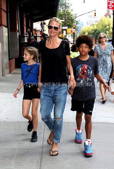 WWW.ACEPIXS.COM<br /> <br /> June 9 2015, New York City<br /> <br /> Heidi Klum walks in Tribeca with her children Leni (L) and Johan on June 9 2015 in New York City<br /> <br /> By Line: Philip Vaughan/ACE Pictures<br /> <br /> ACE Pictures, Inc.<br /> tel: 646 769 0430<br /> Email: info@acepixs.com<br /> www.acepixs.com