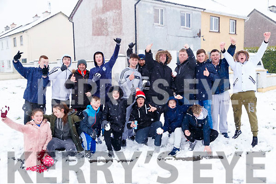 Residents of Feale Drive enjoying the snow in Listowel on Friday.