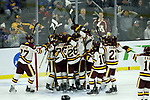 SIOUX FALLS, SD - MARCH 24: Minnesota Duluth Bulldogs celebrate their 2-1 win over Air Force at the 2018 West Region Men's NCAA DI Hockey Tournament at the Denny Sanford Premier Center in Sioux Falls, SD. (Photo by Dave Eggen/Inertia)