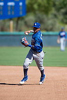 Los Angeles Dodgers second baseman Kenneth Betancourt (60) throws to first base during an Instructional League game against the San Diego Padres at Camelback Ranch on September 25, 2018 in Glendale, Arizona. (Zachary Lucy/Four Seam Images)