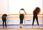 Dancers warming up during the North American Premiere presentation of 'The Bodyguard' at The New 42nd Street Studios on November 10, 2016 in New York City.