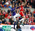Leon Clarke of Sheffield Utd tussles with Jonathan Howson of Middlesbrough during the Championship match at the Riverside Stadium, Middlesbrough. Picture date: August 12th 2017. Picture credit should read: Simon Bellis/Sportimage