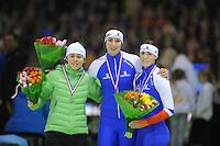 SCHAATSEN: HEERENVEEN: 23-01-2016, IJsstadion Thialf, NK Sprint, Podium 2e 500m, Floor van den Brandt, Margot Boer, Janine Smit, ©foto Martin de Jong