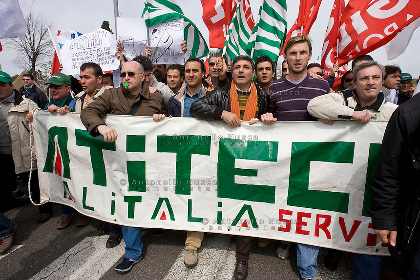 Rome, March 31, 2008. Alitalia workers demonstrate in front of the Alitalia headquarters in Rome.