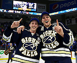 SIOUX FALLS, SD - MAY 15:  Troy Loggins #9 and Clint Lewis  #15 from the Sioux Falls Stampede celebrate their 4-2 win over the Muskegon Lumberjacks to win the 2015 Clark Cup at the Denny Sanford Premier Center Friday night.  (Photo by Dave Eggen/Inertia)