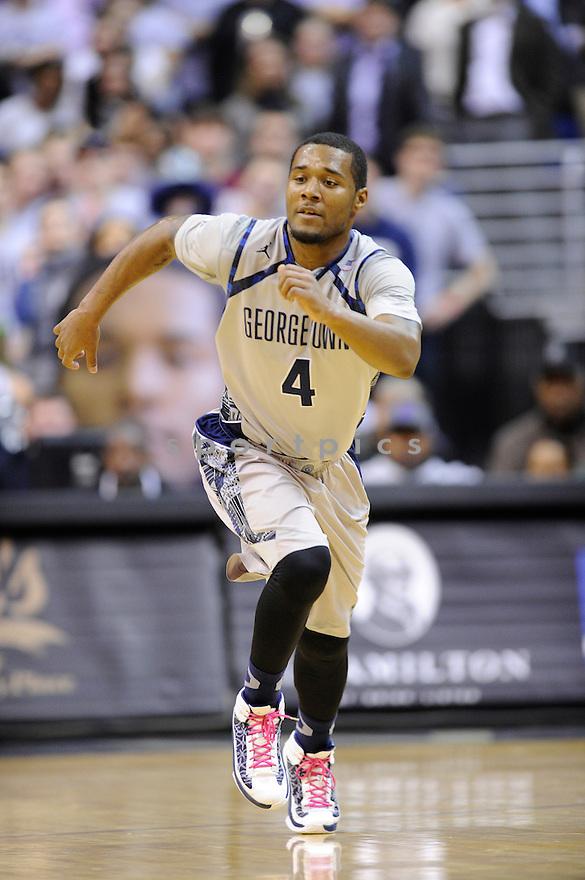 Georgetown Hoyas D'Vauntes Smith-Rivera (4) during a game against the Villanova Wildcats on January 27, 2014 at the Verizon Center in Washington, DC. Villanova beat Georgetown 65-60.