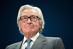 © Joel Goodman - 07973 332324 . 02/10/2016 . Birmingham , UK . MICHAEL HESELTINE addresses the Conservative Party conference during the first day of the Conference at the International Convention Centre in Birmingham . Photo credit : Joel Goodman