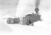 D&amp;RG eastbound flanger extra with large plow on lead loco, flanger, second loco and caboose.<br /> D&amp;RG  Cumbres, CO  Taken by Lively, Charles R.