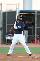 Hersin Martinez #33 of the AZL Mariners bats against the AZL Giants at the Peoria Sports Complex on July 10, 2014 in Peoria, Arizona. AZL Giants defeated the AZL Mariners, 8-4. (Larry Goren/Four Seam Images)