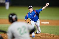 South Bend Cubs relief pitcher Wyatt Short (17) delivers a pitch during a game against the Clinton LumberKings on May 5, 2017 at Four Winds Field in South Bend, Indiana.  South Bend defeated Clinton 7-6 in nineteen innings.  (Mike Janes/Four Seam Images)
