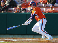 Kyle Parker (25) hits during a game between the Charlotte 49ers and Clemson Tigers Feb. 20, 2009, at Doug Kingsmore Stadium in Clemson, S.C. (Photo by: Tom Priddy/Four Seam Images)