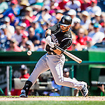 28 August 2016: Colorado Rockies infielder Daniel Descalso in action against the Washington Nationals at Nationals Park in Washington, DC. The Rockies defeated the Nationals 5-3 to take the rubber match of their 3-game series. Mandatory Credit: Ed Wolfstein Photo *** RAW (NEF) Image File Available ***