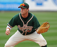 First baseman Brian McConkey (35) of the Greensboro Grasshoppers, Class A affiliate of the Florida Marlins, in a game against the Greenville Drive on April 25, 2011, at Fluor Field at the West End in Greenville, S.C. Photo by Tom Priddy / Four Seam Images