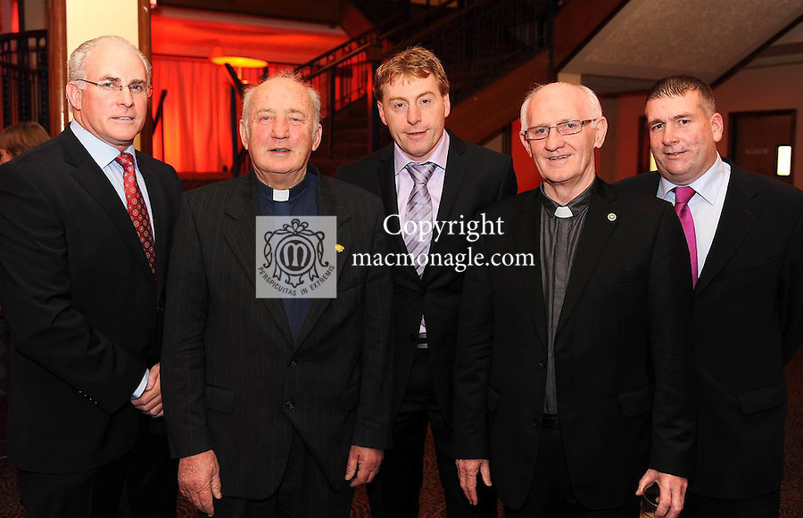 Munster Council Chairman Sean Walsh, Fr Paddy O'Donoghue, Dr Crokes Chairman Vincent Casey, Fr John Ahern, Manchester and Kerry County Board Chairman Patrick O'Sullivan at  the Dr Crokes GAA Club Victory Celebration Night at the Inec, Killarney on Friday night. Picture: Eamonn Keogh (MacMonagle, Killarney)