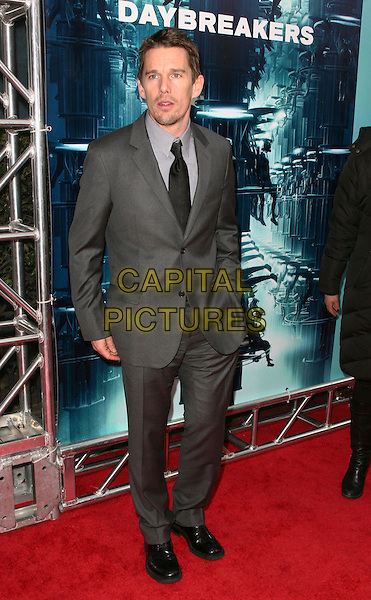 "ETHAN HAWKE.Attending the New York City Premiere of ""Daybreakers"" held at the SVA Theater, New York, NY, USA, 7th January 2010..full length grey gray suit tie black .CAP/ADM/PZ.©Paul Zimmerman/AdMedia/Capital Pictures."