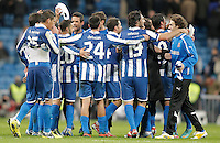 Espanyol's players celebrate during La Liga match. December 16, 2012. (ALTERPHOTOS/Alvaro Hernandez)