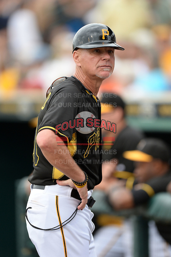 Coach Rick Sofield (41) of the Pittsburgh Pirates during a spring training game against the New York Yankees on February 26, 2014 at McKechnie Field in Bradenton, Florida.  Pittsburgh defeated New York 6-5.  (Mike Janes/Four Seam Images)