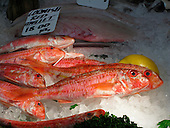Cornish Red Mullet at a fishmonger's stall in Borough Market, London