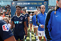 Cary, North Carolina  - Saturday June 03, 2017: Taylor Smith and Sydney Leroux prior to a regular season National Women's Soccer League (NWSL) match between the North Carolina Courage and the FC Kansas City at Sahlen's Stadium at WakeMed Soccer Park. The Courage won the game 2-0.