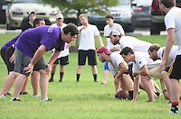 First- and second-year students in Mississippi State's College of Veterinary Medicine competed earlier this week in the second annual &quot;Man Cup Challenge.&quot; Max D. Farmer, a second-year student from Columbus, snaps the ball for his team during the &quot;just for fun&quot; game. The Class of 2018 came back to claim the &quot;Man Cup Challenge&quot; trophy with a stunning overtime victory.<br />