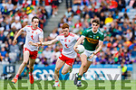 Sean O'Shea, Kerry in action against Conor Meyler, and Colm Cavanagh, Tyrone during the All Ireland Senior Football Semi Final between Kerry and Tyrone at Croke Park, Dublin on Sunday.
