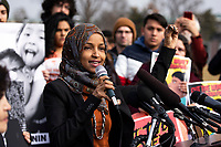 Representative Ilhan Omar, Democrat of Minnesota, speaks during a press conference calling for an end to immigrant detentions along the Southern United States border held at the United States Capitol in Washington, DC on February 7, 2019. Credit: Alex Edelman / CNP/AdMedia