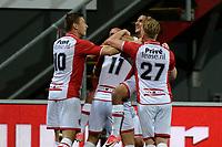 EMMEN - Voetbal, FC Emmen - SC Cambuur, Jens Vesting, Jupiler League, seizoen 2017-2018, 06-10-2017,  Emmen viert de 1-0