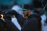 Coastal Carolina Chanticleers student assistant Matt Heidenreich during the game against the Illinois Fighting Illini at Springs Brooks Stadium on February 22, 2020 in Conway, South Carolina. The Fighting Illini defeated the Chanticleers 5-2. (Brian Westerholt/Four Seam Images)