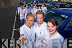 ANGER: Nursing students are furious.about being asked to pay EUR10 a day to.park at Kerry General Hospital, front l-r:.Aine Aspell, Denise Long and Siobha?n.McNamara. Back, l-r: Sheila O'Keeffe,.Lorraine Friel, Cara Fitzgerald, Paula.O'Connell, Isobel O'Brien and Anne.Cleary.