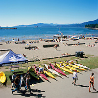 "Vancouver, British Columbia, Canada - Summer Beach Activities and Kayak Rentals at English Bay (First Beach) in the ""West End"""