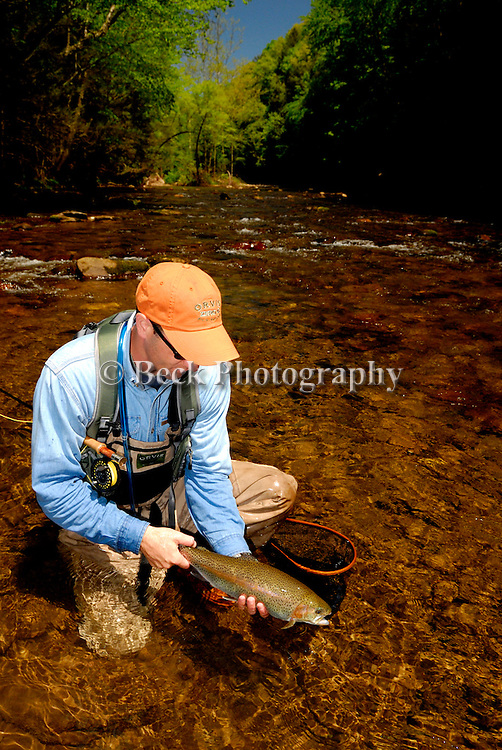 CHRIS PATTON FLY FISHING IN BOWMAN'S CREEK FOR RAINBOW TROUT