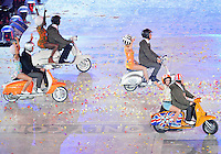 August 12, 2012..Pillion riding the scooters arrive during closing ceremony show at the Olympic Stadium on the last day of 2012 Olympic Games in London, United Kingdom.