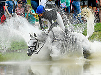 LEXINGTON, KENTUCKY - APRIL 29: Sparrow's Nio #23, with rider Allie Sacksen (USA), unsuccessfully clear an obstacle during the Cross Country Test at the Rolex Kentucky 3-Day Event at the Kentucky Horse Park on April 29, 2017 in Lexington, Kentucky. (Photo by Scott Serio/Eclipse Sportswire/Getty Images)