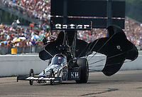 Aug 16, 2014; Brainerd, MN, USA; NHRA top fuel dragster driver Shawn Langdon during qualifying for the Lucas Oil Nationals at Brainerd International Raceway. Mandatory Credit: Mark J. Rebilas-