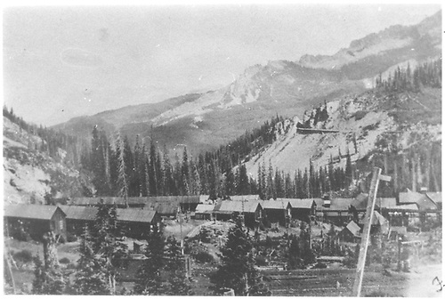 Small settlement of miners house - Floresta area.  Hanging Bridge - right side of photo.<br /> D&amp;RG  Floresta area, CO  Taken by Price, Earl