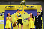 Mike Theunison (BEL) retains the leaders Yellow Jersey after his Team Jumbo-Visma win Stage 2 of the 2019 Tour de France a Team Time Trial running 27.6km from Bruxelles Palais Royal to Brussel Atomium, Belgium. 7th July 2019.<br /> Picture: ASO/Pauline Ballet | Cyclefile<br /> All photos usage must carry mandatory copyright credit (© Cyclefile | ASO/Pauline Ballet)