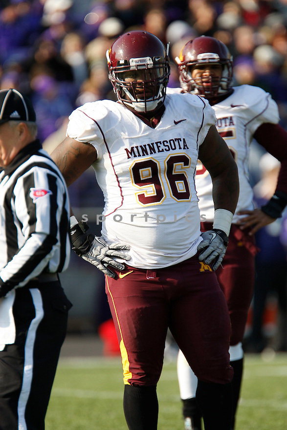 BRANDON KIRKSEY, of the Minnesota Golden Gophers, in action during Minnesota's game against the Northwestern Wildcats on November 19, 2011 at Ryan Field in Evanston, IL. Northwestern beat Minnesota 28-13.
