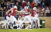 Stanford, CA - October 5, 2019: Kyu Blu Kelly, Paulson Adebo at Stanford Stadium. The Stanford Cardinal beat the University of Washington Huskies 23-13.