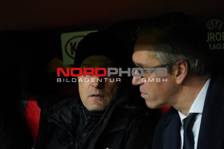 29.11.2018, BayArena, Leverkusen, Europaleque, Vorrunde, GER, UEFA EL, Bayer 04 Leverkusen (GER) vs. Ludogorez Rasgrad (BUL),<br />  <br /> DFL regulations prohibit any use of photographs as image sequences and/or quasi-video<br /> <br /> im Bild / picture shows: <br /> Heiko Herrlich Trainer (Bayer Leverkusen), Dirk Mesch Pressesprecher (Bayer 04 Leverkusen),  <br /> <br /> Foto © nordphoto / Meuter<br /> <br /> <br /> <br /> Foto © nordphoto / Meuter