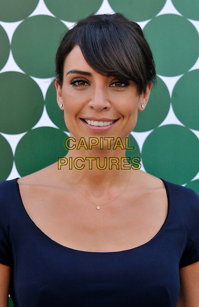 Christine Bleakley.arriving at the Jasper Conran show at London Fashion Week LFW, London, England, UK, 15th September 2012..portrait headshot fringe blue .CAP/WIZ.© Wizard/Capital Pictures.