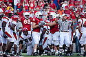 26 September 2009: Nebraska tight end Ben Cotton recovers a fumble for a touchdown from teammate Roy Helu Jr. against Louisiana-Lafayette at Memorial Stadium, Lincoln, Nebraska. Nebraska defeats Louisiana Lafayette 55 to 0.