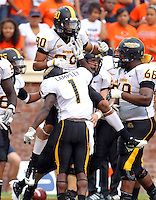 Southern Miss Golden Eagles wide receiver Ryan Balentine (80) celebrates a touchdown  during the game at Scott Stadium. Virginia was defeated 30-24. (Photo/Andrew Shurtleff)