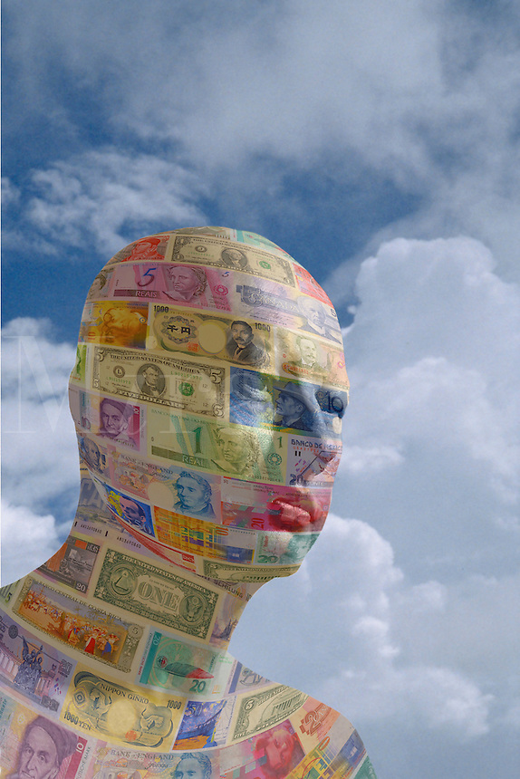 Digital illustration: man made of international currency.