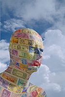 Digital illustration: man made of international currency.