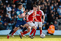 Fleetwood Town's Barry Baggley competing with Wycombe Wanderers' Matthew Bloomfield <br /> <br /> Photographer Andrew Kearns/CameraSport<br /> <br /> The EFL Sky Bet League One - Wycombe Wanderers v Fleetwood Town - Saturday 4th May 2019 - Adams Park - Wycombe<br /> <br /> World Copyright © 2019 CameraSport. All rights reserved. 43 Linden Ave. Countesthorpe. Leicester. England. LE8 5PG - Tel: +44 (0) 116 277 4147 - admin@camerasport.com - www.camerasport.com
