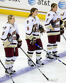 Allie Thunstrom (BC - 9), Allison Szlosek (BC - 8), Dru Burns (BC - 7) - The University of Minnesota-Duluth Bulldogs defeated the Boston College Eagles 3-0 on Friday, November 27, 2009, at Conte Forum in Chestnut Hill, Massachusetts.