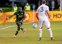 13th July 2020, Orlando, Florida, USA;  Portland Timbers defender Chris Duvall (15) crosses the ball during the MLS Is Back Tournament between the LA Galaxy versus Portland Timbers on July 13, 2020 at the ESPN Wide World of Sports, Orlando FL.