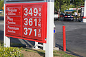 A gas price list at gas station in 2007. California, USA