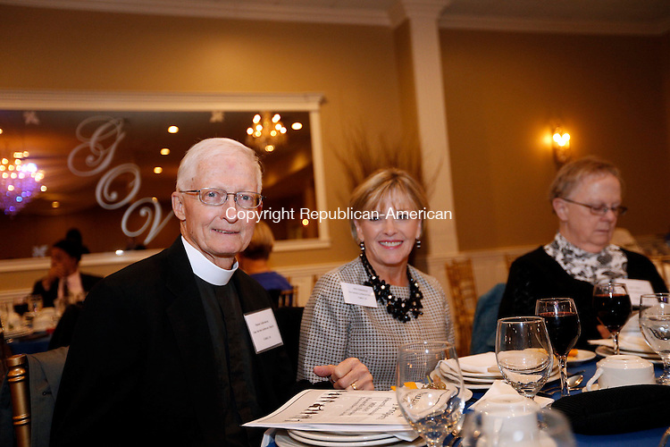 WATERTOWN, CT- 12 November 2016-111216CM15- Social Moments from left, Pastor Wayne Gollenberg and his wife, Ellie, from Our Savior Lutheran Church of Thomaston are photographed during the Naugatuck Valley Project's 4th Annual Micah Awards Dinner at the Grand Oak Villa in Oakville on Saturday.    Christopher Massa Republican-American
